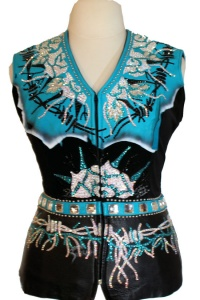 Connie Aqua Blue and Black Hand Painted Vest