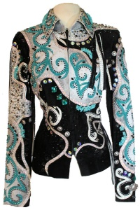 Lindsey James Black Suede Turquoise and White Leather Jkt