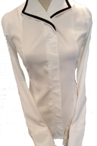 White Debutante with Black Piping on Collar & Cuff